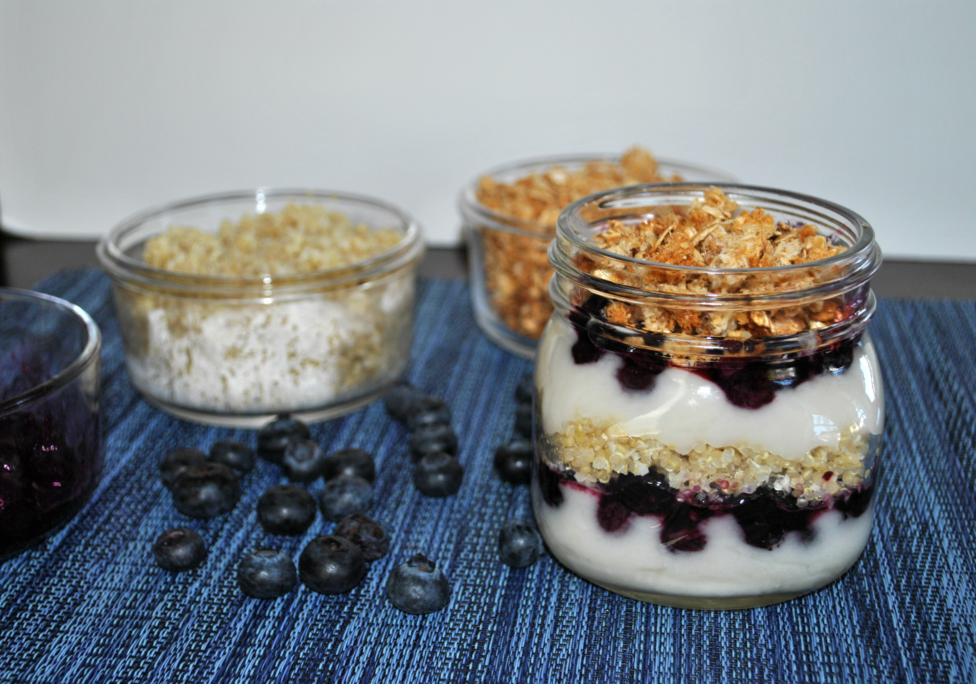 Roasted Blueberry Coconut Parfait with Quinoa