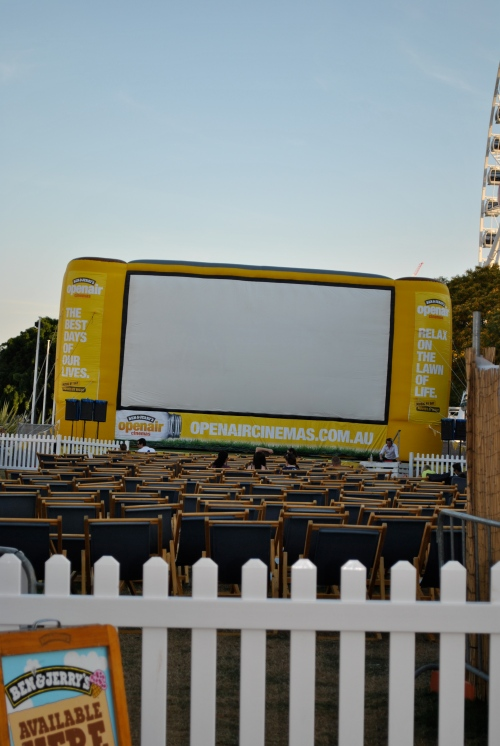 outdoor cinema. There were lawn chairs and bean bag chairs, which was pretty cool