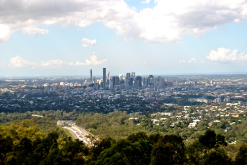 A view overlooking Brisbane, on our way out